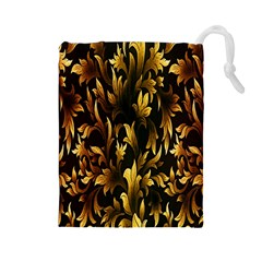 Loral Vintage Pattern Background Drawstring Pouches (Large)