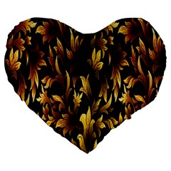 Loral Vintage Pattern Background Large 19  Premium Flano Heart Shape Cushions