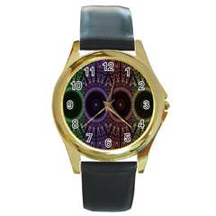 Digital Colored Ornament Computer Graphic Round Gold Metal Watch