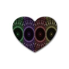 Digital Colored Ornament Computer Graphic Rubber Coaster (heart)