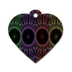 Digital Colored Ornament Computer Graphic Dog Tag Heart (Two Sides)
