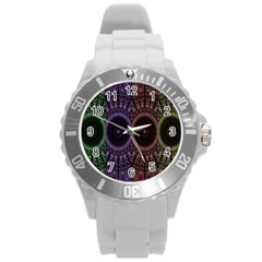 Digital Colored Ornament Computer Graphic Round Plastic Sport Watch (L)