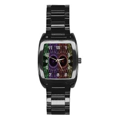 Digital Colored Ornament Computer Graphic Stainless Steel Barrel Watch