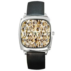 Floral Vintage Pattern Background Square Metal Watch