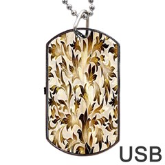 Floral Vintage Pattern Background Dog Tag USB Flash (One Side)