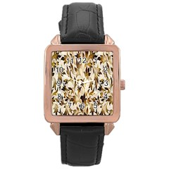 Floral Vintage Pattern Background Rose Gold Leather Watch