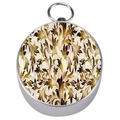 Floral Vintage Pattern Background Silver Compasses