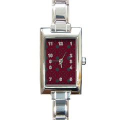 Blue Hot Pink Pattern With Woody Circles Rectangle Italian Charm Watch
