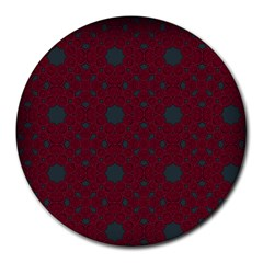Blue Hot Pink Pattern With Woody Circles Round Mousepads