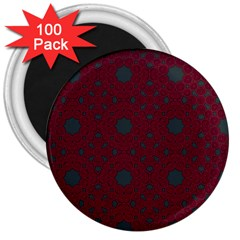 Blue Hot Pink Pattern With Woody Circles 3  Magnets (100 Pack)