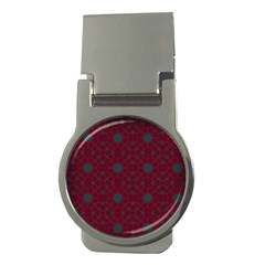 Blue Hot Pink Pattern With Woody Circles Money Clips (Round)