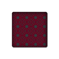 Blue Hot Pink Pattern With Woody Circles Square Magnet