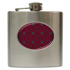 Blue Hot Pink Pattern With Woody Circles Hip Flask (6 oz)