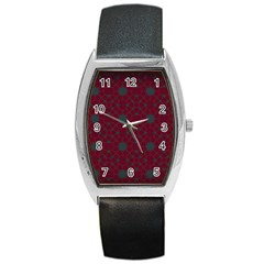 Blue Hot Pink Pattern With Woody Circles Barrel Style Metal Watch