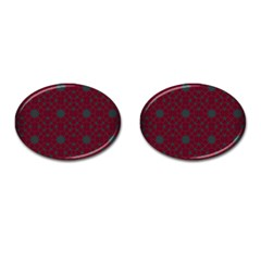 Blue Hot Pink Pattern With Woody Circles Cufflinks (Oval)