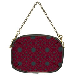 Blue Hot Pink Pattern With Woody Circles Chain Purses (one Side)