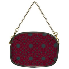 Blue Hot Pink Pattern With Woody Circles Chain Purses (two Sides)