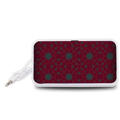 Blue Hot Pink Pattern With Woody Circles Portable Speaker (White)