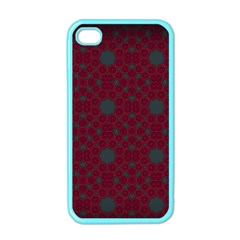 Blue Hot Pink Pattern With Woody Circles Apple iPhone 4 Case (Color)