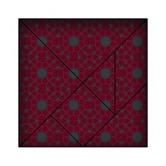 Blue Hot Pink Pattern With Woody Circles Acrylic Tangram Puzzle (6  x 6 )