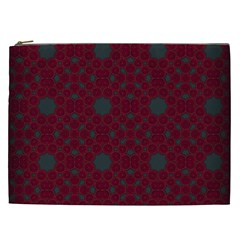 Blue Hot Pink Pattern With Woody Circles Cosmetic Bag (XXL)