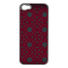 Blue Hot Pink Pattern With Woody Circles Apple iPhone 5 Case (Silver)