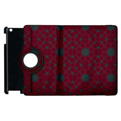 Blue Hot Pink Pattern With Woody Circles Apple Ipad 2 Flip 360 Case