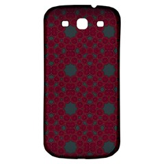 Blue Hot Pink Pattern With Woody Circles Samsung Galaxy S3 S III Classic Hardshell Back Case