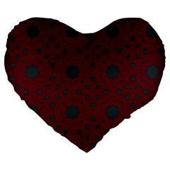 Blue Hot Pink Pattern With Woody Circles Large 19  Premium Heart Shape Cushions