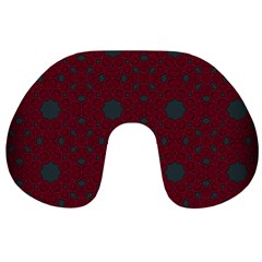 Blue Hot Pink Pattern With Woody Circles Travel Neck Pillows