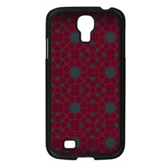 Blue Hot Pink Pattern With Woody Circles Samsung Galaxy S4 I9500/ I9505 Case (Black)