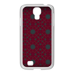 Blue Hot Pink Pattern With Woody Circles Samsung GALAXY S4 I9500/ I9505 Case (White)