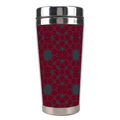 Blue Hot Pink Pattern With Woody Circles Stainless Steel Travel Tumblers