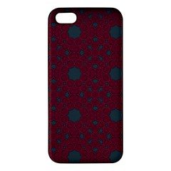 Blue Hot Pink Pattern With Woody Circles iPhone 5S/ SE Premium Hardshell Case