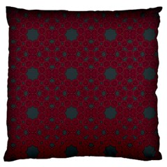Blue Hot Pink Pattern With Woody Circles Large Flano Cushion Case (Two Sides)