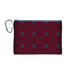 Blue Hot Pink Pattern With Woody Circles Canvas Cosmetic Bag (M)