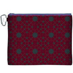 Blue Hot Pink Pattern With Woody Circles Canvas Cosmetic Bag (XXXL)