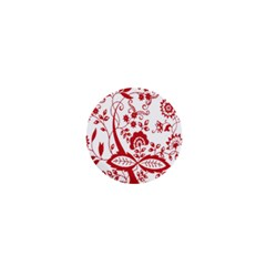 Red Vintage Floral Flowers Decorative Pattern Clipart 1  Mini Buttons