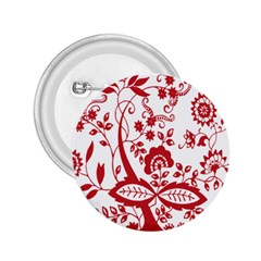 Red Vintage Floral Flowers Decorative Pattern Clipart 2.25  Buttons