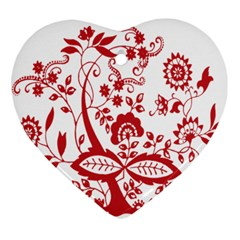 Red Vintage Floral Flowers Decorative Pattern Clipart Ornament (heart)