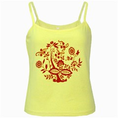 Red Vintage Floral Flowers Decorative Pattern Clipart Yellow Spaghetti Tank