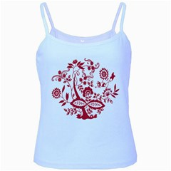 Red Vintage Floral Flowers Decorative Pattern Clipart Baby Blue Spaghetti Tank