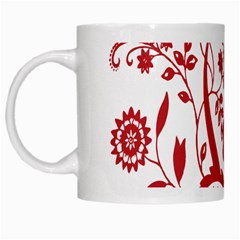 Red Vintage Floral Flowers Decorative Pattern Clipart White Mugs
