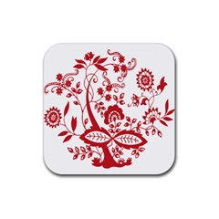 Red Vintage Floral Flowers Decorative Pattern Clipart Rubber Square Coaster (4 Pack)