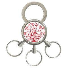 Red Vintage Floral Flowers Decorative Pattern Clipart 3-Ring Key Chains
