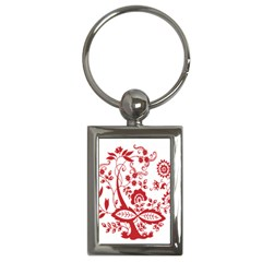 Red Vintage Floral Flowers Decorative Pattern Clipart Key Chains (Rectangle)