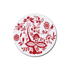 Red Vintage Floral Flowers Decorative Pattern Clipart Rubber Round Coaster (4 pack)