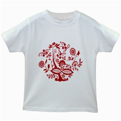 Red Vintage Floral Flowers Decorative Pattern Clipart Kids White T-Shirts