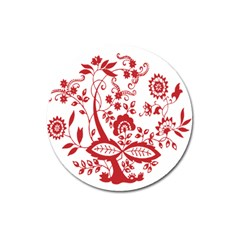 Red Vintage Floral Flowers Decorative Pattern Clipart Magnet 3  (Round)