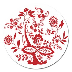 Red Vintage Floral Flowers Decorative Pattern Clipart Magnet 5  (Round)